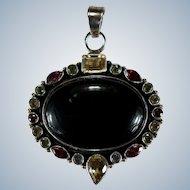 Black Sardonyx Agate Stone Pendant 925 Sterling Silver Mixed Gemstone Pendant
