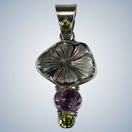 Carved Black Shell Amethyst Peridot 925 Sterling Silver Multi Stone Pendant