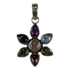 Mixed Gemstone Chakra 925 Sterling Silver Pendant Amethyst Moonstone Peridot Garnet Quartz