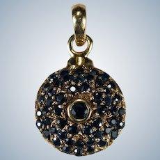 Genuine Sapphire Flower Circle Pendant 14k Gold Disc Sapphire Pendant