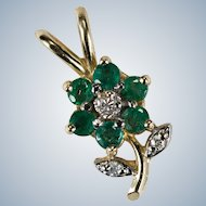 Emerald Diamond Flower Pendant 14k Gold Gemstone Flower