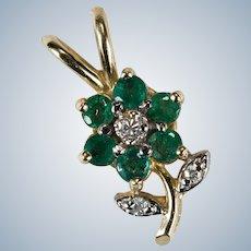 Emerald Diamond Flower Pendant 14k Gold Gemstone Flower