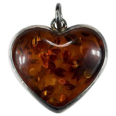 Vintage Russian Baltic Amber Sterling Silver 925 Natural Amber Heart Pendant