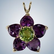 Amethyst Hearts Peridot Flower Pendant 14k Gold Mixed Gemstone Heart Slide Pendant