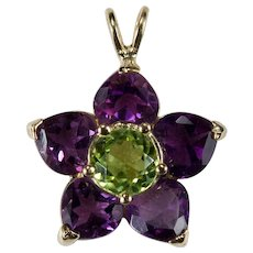 Amethyst Hearts Peridot Flower Pendant 14k Gold Mixed Gemstone Heart Slide Pendant