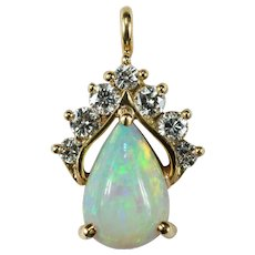 Natural Opal Diamond Pendant 14k Gold Genuine Precious Opal Pear Drop Pendant