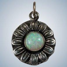 Precious Opal Sunflower Pendant Sterling Opal Flower Charm