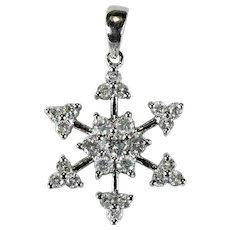 Diamond Snowflake Pendant 1ctw 18k Natural Diamond Pendant