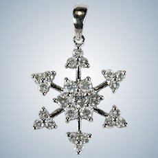 Diamond Snowflake Pendant 1ctw 18k Natural Diamond Pendant