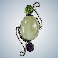 Amethyst Peridot Green Quartz Pendant 925 Sterling Silver Natural Quartz Crystal Mixed Gemstone Pendant