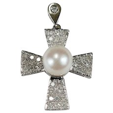 Solitaire Pearl Diamond Cross 14k Gold .72ctw Pave Set Natural Diamond Cultured Pearl Cross Pendant