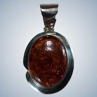 Enormous Amber Pendant 925 Sterling Silver Desert Rose Pressed Amber