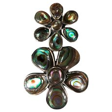 Vintage Abalone Shell Double Flower Sterling Silver Pendant