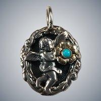 Turquoise Cherub Pendant Raised 3D Repouse Medallion Sterling Gold Flower