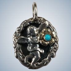 Turquoise Cherub Pendant Raised 3D Repouse Medallion Sterling Gold Flower
