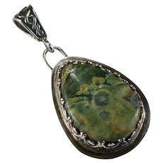 Natural Green Jasper Stone Sterling Pendant
