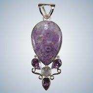 Amethyst Moonstone Purple Jasper Stone 925 Sterling Pendant