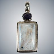 Vintage Natural Rainbow Blue Moonstone Iolite Sterling Silver Pendant
