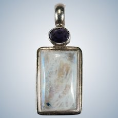Vintage Natural Rainbow Blue Moonstone Iolite Sterling Silver Pendant
