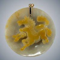 Genuine Jade Carved Horses Disc 14k Gold Pendant