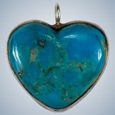 Natural Turquoise Heart Pendant Sterling Silver Hand Carved Turquoise Heart