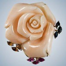 Single Carved Coral Rose Pendant Brooch 14k Gold Huge Natural Angel Skin Coral Sapphire Citrine Tourmaline