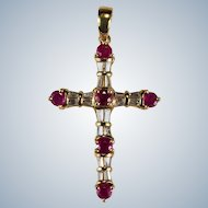 Ruby Diamond Cross Pendant 3.0ctw 18k Gold Large Gemstone Cross Natural Diamond Ruby Pendant