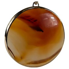 Natural Carnelian Agate Pendant 14k Gold Large Polished Agate Disc Pendant
