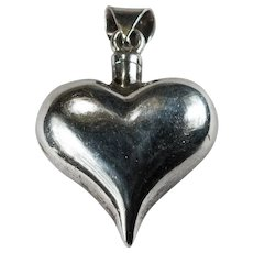 Heart Perfume Bottle Pendant 925 Sterling Silver Puffy Heart Perfume With Dabber