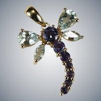 Aquamarine Tanzanite Dragonfly Pendant 10k Gold Mixed Gemstone Pendant