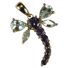 Aquamarine Tanzanite Dragonfly Pendant 10k Gold Mixed Gemstone Pendant