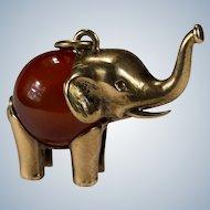 Carnelian Elephant Pendant 14k Gold Germany Charm