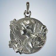 Antique E Dropsy Cameo Medallion 925 Sterling Designer Signed Iris Lady Cameo Pendant Charm