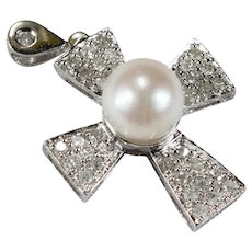 Solitaire Cultured Pearl Diamond Cross 14k .72ctw