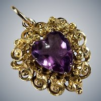 Natural Amethyst Heart 14k Gold Hand Crafted Filigree Pendant