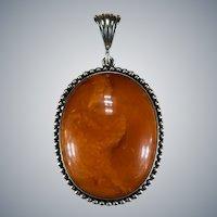 Antique Natural Butterscotch Amber Silver Pendant