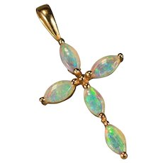 Natural Opal Cross Pendant 14k Plumb Gold
