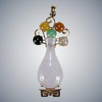 Jade Flower Vase 14k Gold Pendant Mixed Color Genuine Jade