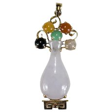 Jade Flower Vase 14k Gold Pendant Mixed Color Genuine Jade