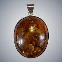 Natural Amber Sterling Pendant