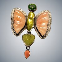 Mixed Gemstone Amy Kahn Russell Carved Butterfly Pendant Brooch Sterling Silver