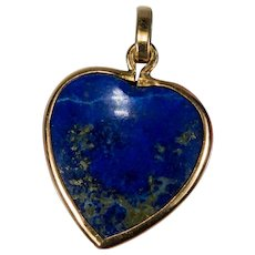 Natural Lapis Heart Pendant 18k Gold Bezel Set Lapis Stone Heart