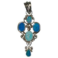Genuine Mixed Opal 925 Sterling Silver Pendant Natural Precious Black And Harlequin Opal