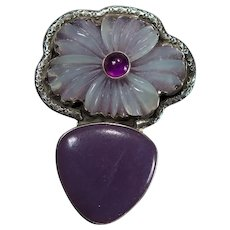 Amy Kahn Russell Carved Quartz Flower Mixed Gemstone Sterling Enhancer Pendant Brooch AKR