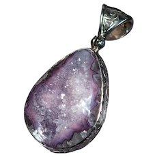 Natural Amethyst Quartz Geode Druzy Crystal 925 Sterling Silver Pendant