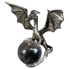 Pools Of Light Quartz Orb Dragon Pendant Sterling Silver
