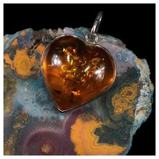 Vintage Russian Baltic Amber Sterling Silver Natural Amber Heart Pendant