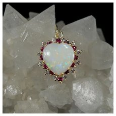 Natural Opal Heart Diamond Ruby Halo Pendant 14k Gold Mixed Gemstone