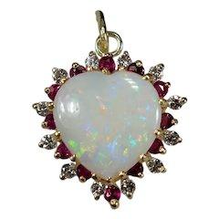 Natural Opal Heart Diamond Ruby Halo Pendant 14k Gold Mixed Gemstone