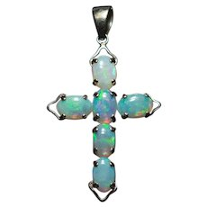 Natural Opal Cross Pendant 14k White Gold
